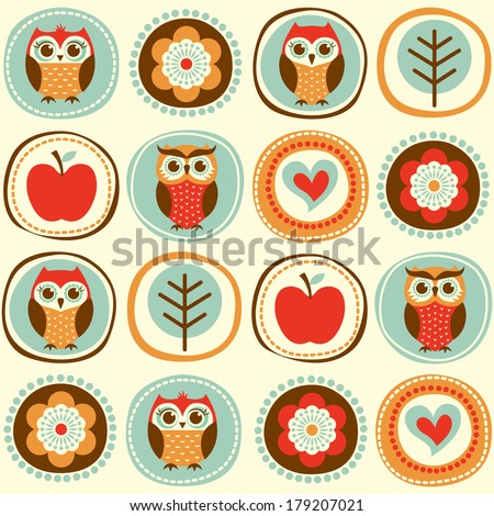 seamless owls cartoon wallpaper - stock vector