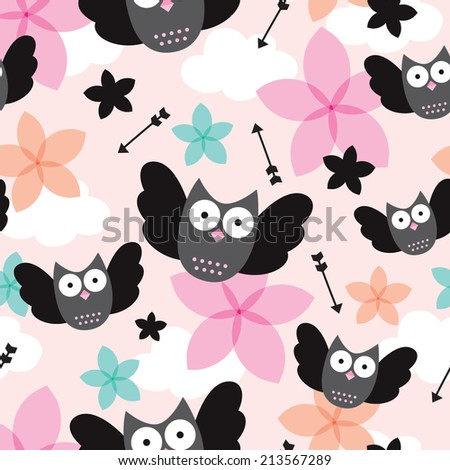 Seamless owls cute arrow and flower illustration kids background pattern in vector - stock vector