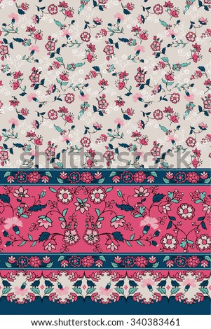 Seamless Paisley and flower background. Elegant Hand Drawn vector pattern and border. - stock vector