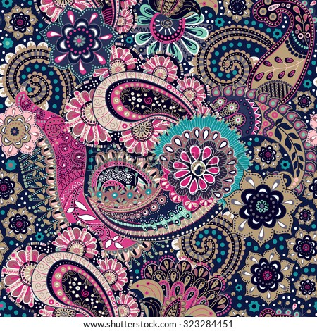 Seamless Paisley background, floral pattern - stock vector