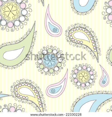Seamless Paisley in doodles style - stock vector