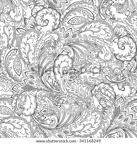 Paisley Pattern Colouring Sheets : Fantasy paisley pattern seamless background coloring stock vector