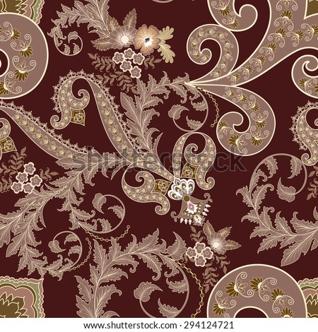 seamless paisley pattern decorated with leaves in vintage style and curls in a dark beige  tones  on dark burgundy background