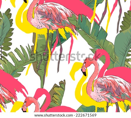 seamless palms with flamingo vector patterns - stock vector