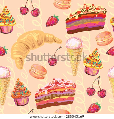 Seamless Paris French food vector pattern with cake, croissant, ice cream, cupcakes, macaroon, cherry and strawberry. Perfect for wallpaper, pattern fill, web page background, surface texture, textile