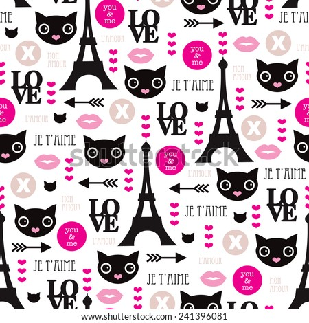Seamless paris love and sweet kitten hearts and kisses illustration cool girls valentine background pattern in vector - stock vector