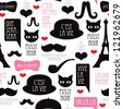 Seamless paris moustache mustache pattern french background in vector - stock vector