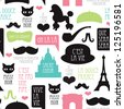 Seamless paris moustache mustache poodle pattern french background in vector - stock photo
