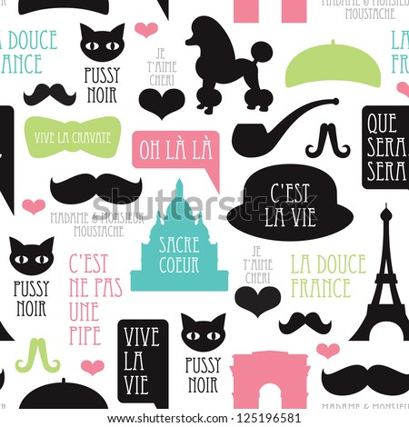 Seamless paris moustache mustache poodle pattern french background in vector - stock vector