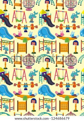 seamless park playground pattern,cartoon vector illustration - stock vector