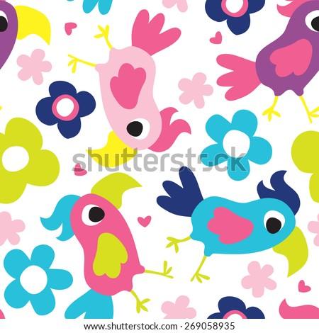seamless parrot pattern vector illustration - stock vector