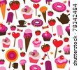 Seamless party candy cup cake ice cream background pattern in vector - stock