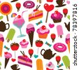 Seamless party candy ice cream and cake background pattern in vector - stock