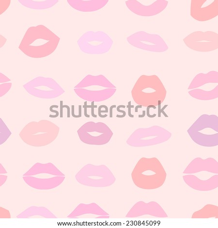 Seamless pastel background with pink colorful female lips - stock vector