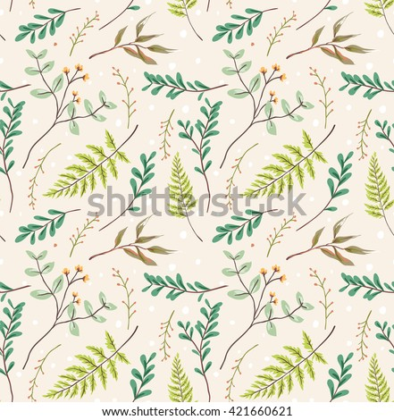 seamless pastel leaves pattern background - stock vector
