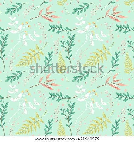 seamless pastel leaves pattern green background - stock vector
