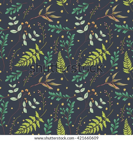seamless pastel leaves pattern navy background - stock vector