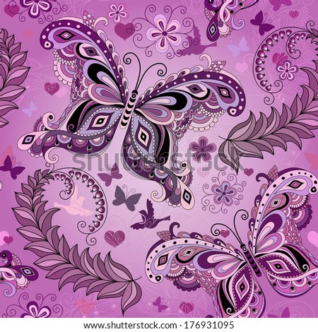 Seamless pastel pink vintage pattern with butterflies (vector eps 10) - stock vector