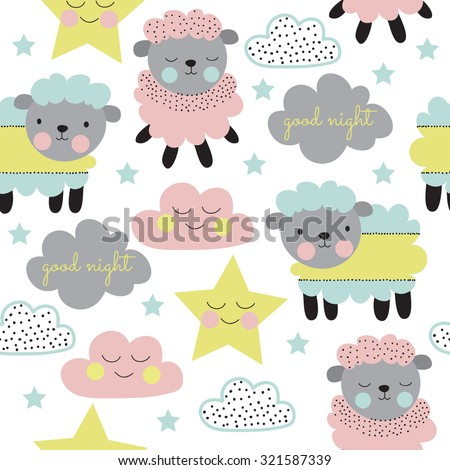 Seamless pastel sheep with cloud and star pattern vector illustration - stock vector