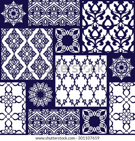 Seamless patchwork background. Oriental ornament motifs. Navy blue and white ornaments.Vector illustration - stock vector