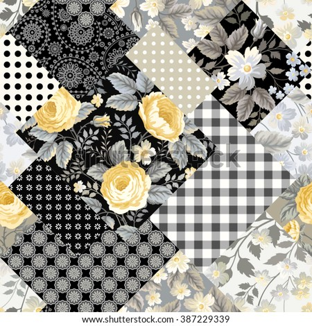 seamless patchwork floral pattern with yellow roses - stock vector