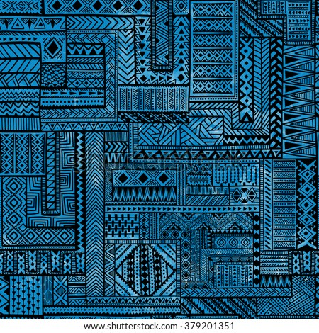 Seamless patchwork pattern. Black geometric lines on blue watercolor background. Vector illustration. Handmade. - stock vector