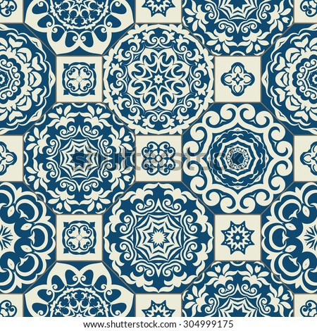 Seamless patchwork pattern from  blue  Moroccan tiles, ornaments. Can be used for wallpaper, pattern fills, surface textures, textile, page cover etc.