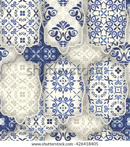Seamless patchwork pattern from CLASSIC BLUE style Moroccan tiles, ornaments. Can be used for wallpaper, surface textures, textile, cover etc.
