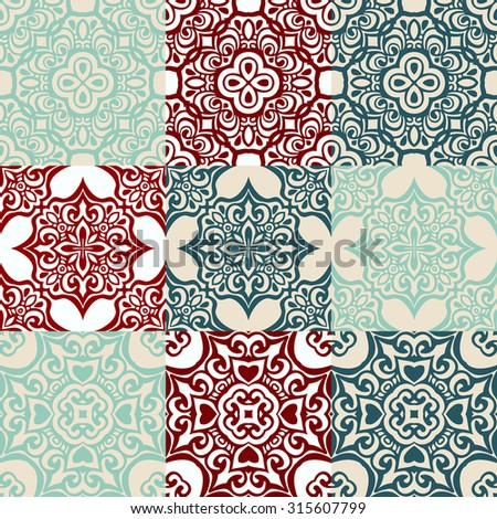 seamless patchwork pattern from dark blue and white Moroccan tiles, ornaments. Can be used for wallpaper, pattern fills, web page background, surface textures.  - stock vector