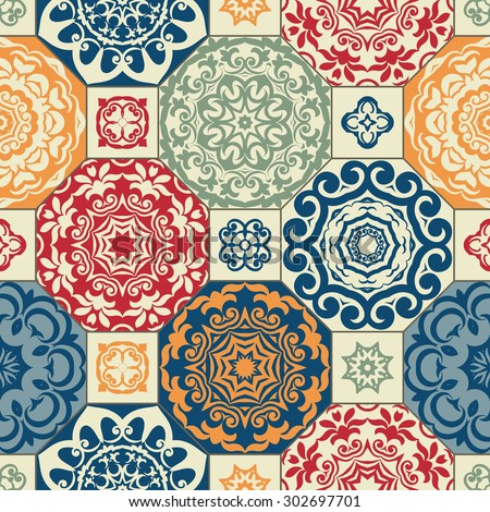 Seamless patchwork pattern from RETRO blue-orange-red style Moroccan tiles, ornaments. Can be used for wallpaper, surface textures, cover etc.
