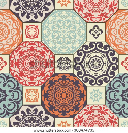 Seamless patchwork pattern from  RETRO blue-orange-red-violet-beige style Moroccan tiles, ornaments. Can be used for wallpaper, surface textures, cover etc. - stock vector