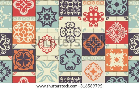 Seamless patchwork pattern from RETRO blue-orange-red-violet-beige style Moroccan tiles, ornaments. Can be used for wallpaper, surface textures, cover etc.