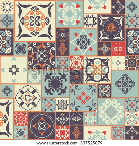 Seamless patchwork PATTERN from RETRO blue-orange-red-violet-beige style Moroccan tiles, ornaments. Can be used for wallpaper, surface textures, cover etc. Vintage