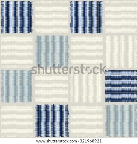 seamless patchwork pattern in blue and beige - stock vector