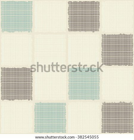 seamless patchwork pattern in brown, turquoise and beige - stock vector