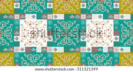 Seamless patchwork pattern oriental ornaments, Indian style decorative patterns from stylized flourishes and leaves. - stock vector