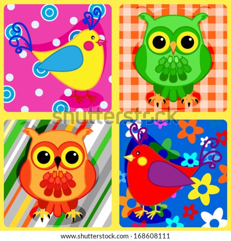 Seamless patchwork pattern with colorful owls and other birds - stock vector