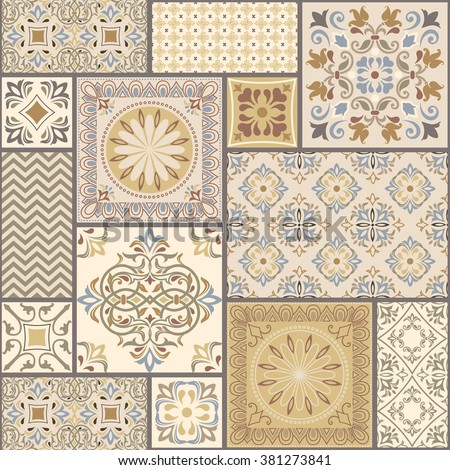 seamless patchwork tile with Victorian motives in retro colors - stock vector