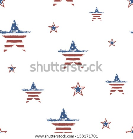 Seamless patriotic ornament for Fourth July Celebration. Vector, EPS10 - stock vector