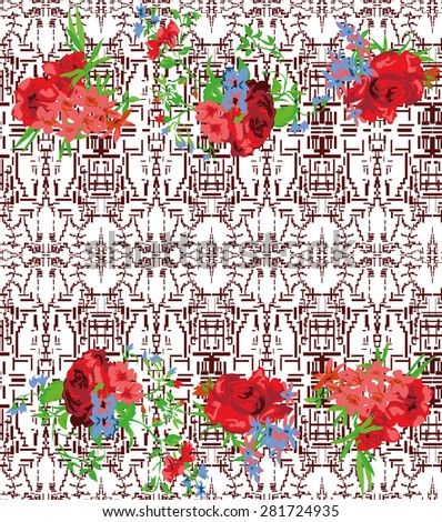 Seamless Patten. Embroidery traditional style. Rustic floral design. - stock vector