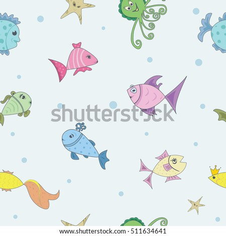Seamless pattern. A set of marine fish. Life aquarium. Vector illustration. Cartoon characters.
