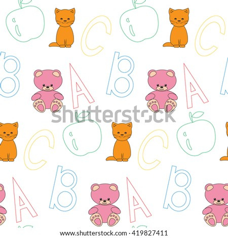 Seamless pattern ABC. Vector seamless pattern letters, cat , teddy bear and apple. Outline