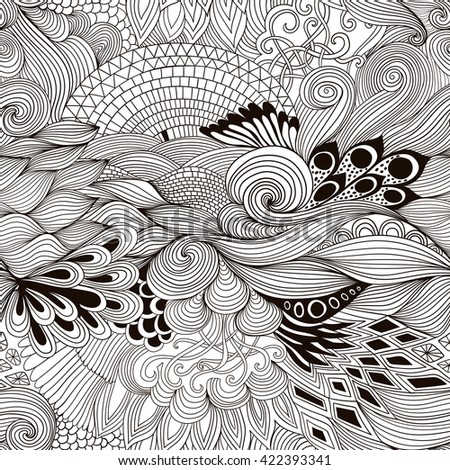 Seamless pattern abstract background with colorful ornament. Hand draw illustration, coloring book zentangle. Algae sea motif
