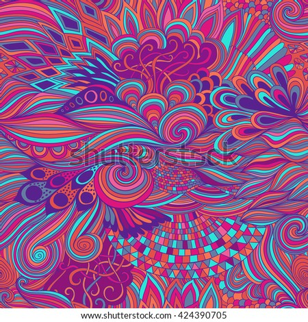 Seamless pattern abstract background with colorful ornament. Hand draw illustration, coloring book zentangle. Algae sea motif - stock vector