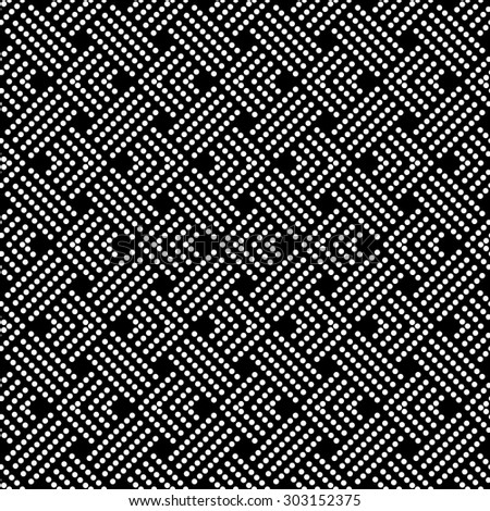 Seamless pattern. Abstract black and white background. Simple elegant texture with regularly repeating geometrical shapes, dots, dotted lines, zigzags. Vector element of graphical design - stock vector