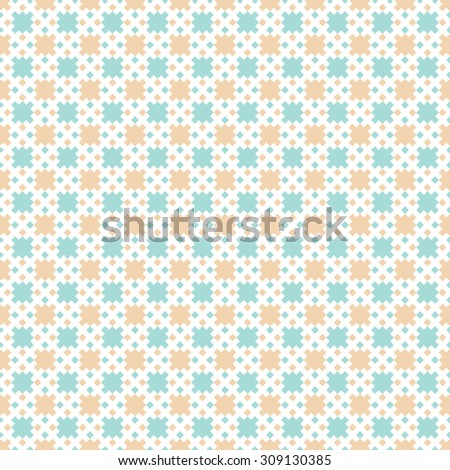 Seamless pattern. Abstract colourful background. Gentle pixel texture with regularly repeating geometrical shapes, squares, rhombuses. Vector element of graphical design - stock vector