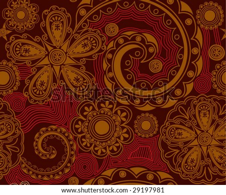 seamless pattern - abstract flowers - stock vector