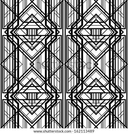seamless pattern, abstract geometric background, black and white stripes, intertwining lines, Art Deco style - stock vector