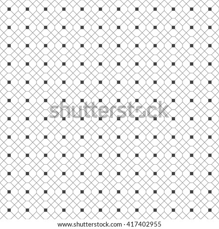 Seamless pattern. Abstract geometric background. Simple elegant texture with thin lines. Regularly repeating geometrical grid with rhombus, hexagon, square. Vector element of graphical design