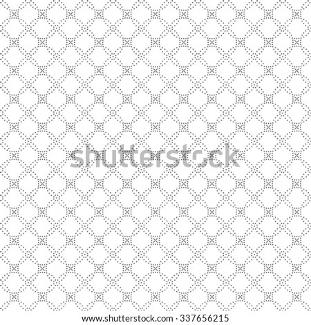 Seamless pattern. Abstract geometrical background. Modern stylish texture with small dots. Regularly repeating intersecting dotted rhombuses and crosses. Vector element of graphical design - stock vector